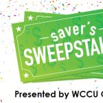 senior woman celebrating savers sweepstakes presented by wccu credit union