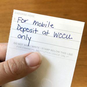 WCCU Mobile Deposit Endrosement